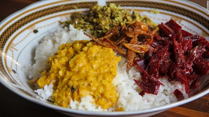 Curry eten in Sri Lanka